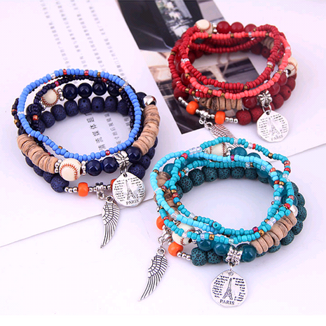 Bohemian style simple and versatile disc tower wings rice beads multi-layer bracelet wholesale nihaojewelry NHSC238805's discount tags