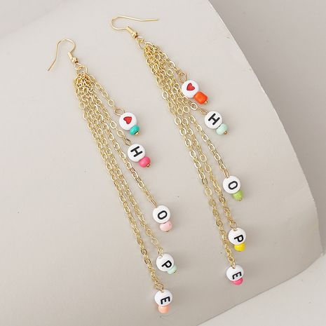 long HOPE letter rice beads tassel earrings earring chain earrings for women NHLA238447's discount tags