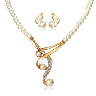 Curved Three Pearls Set 2-piece Retro Wedding Bride Necklace and Earring Set wholesale nihaojewelry NHYI238449's discount tags