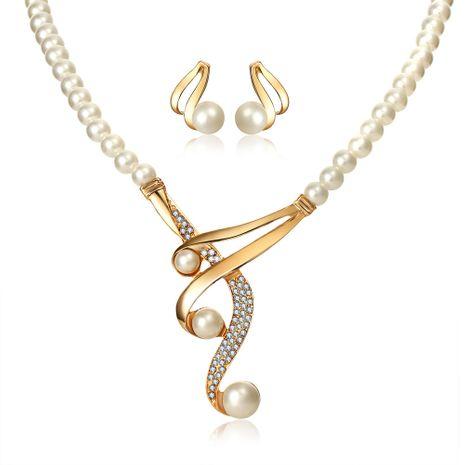 Ensemble de trois perles incurvées Ensemble de collier de mariée rétro de mariage 2 pièces et ensemble de boucles d'oreilles en gros nihaojewelry NHYI238449's discount tags