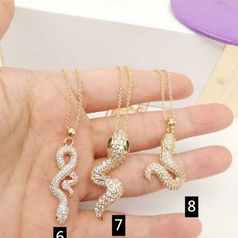 fashion jewelry real shot micro-inlaid snake pendant necklace color zircon necklace wholesale nihaojewelry NHGO238453's discount tags