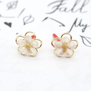 Korean 925 silver needle new white flower sweet earrings wholesale nihaojewelry NHGO238455's discount tags