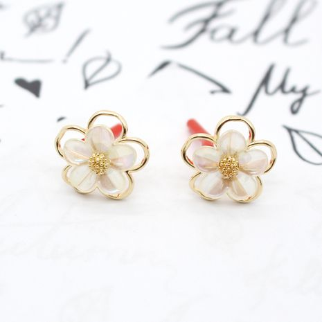 Korean 925 silver needle new white flower sweet earrings wholesale nihaojewelry NHGO238455's discount tags