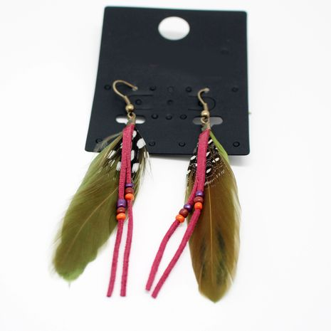 mode Bohême créative longue plume boucles d'oreilles plume de paon en gros nihaojewelry NHGO238464's discount tags