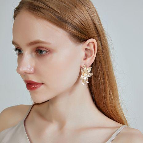 New earrings s925 pure silver earrings simple alloy pearl leaf earrings for women nihaojewelry NHOA238468's discount tags