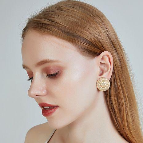Nouvelles boucles d'oreilles S925 en alliage d'aiguille d'argent boucles d'oreilles rondes géométriques de soleil pour les femmes NHOA238477's discount tags