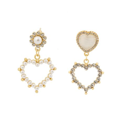 fashion hollow love peach heart earrings diamond pearl earrings wholesale nihaojewelry NHOA238482's discount tags
