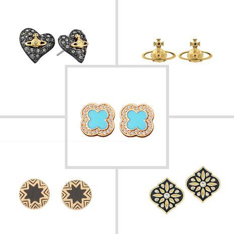 Diamond-studded splicing love four-leaf clover alloy earrings for women wholesale nihaojewelry NHOA238484's discount tags