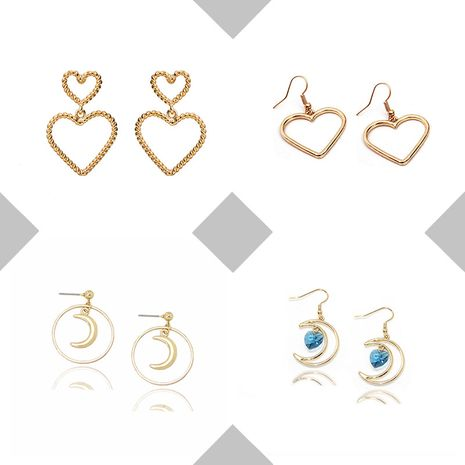 fashion love  simple  moon round earrings wholesale nihaojewelry NHOA238485's discount tags