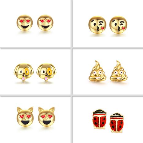 Alloy oil dripping fashion smile emoji dogs ladybugs earrings nihaojewelry NHOA238500's discount tags