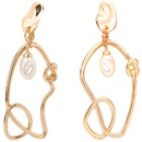 asymmetrical exaggerated circle new geometric irregular knotted pearl earrings wholesale nihaojewelry NHOA238502