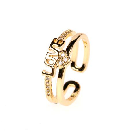 nouvelle bague d'amour lettre ouverte double diamant en gros nihaojewelry NHPY238532's discount tags