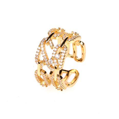 nouvelle bague double couche 8 mots bague chaîne boucle anneau zircon index bague en gros nihaojewelry NHPY238534's discount tags