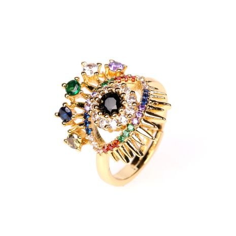 new fashion trend demon eye ring trendy zircon open  ring wholesale nihaojewelry NHPY238539's discount tags