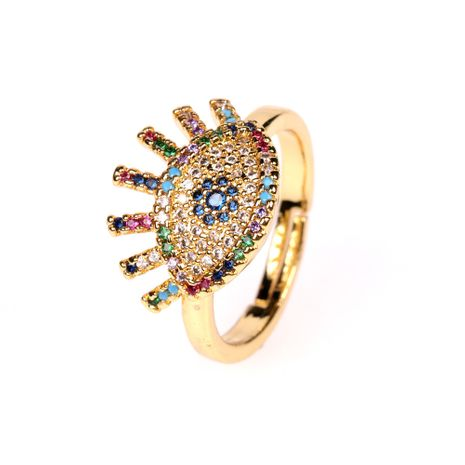 new fashion trend Devil's Eye Ring Eyelash Zircon Open Ring wholesale nihaojewelry NHPY238540's discount tags