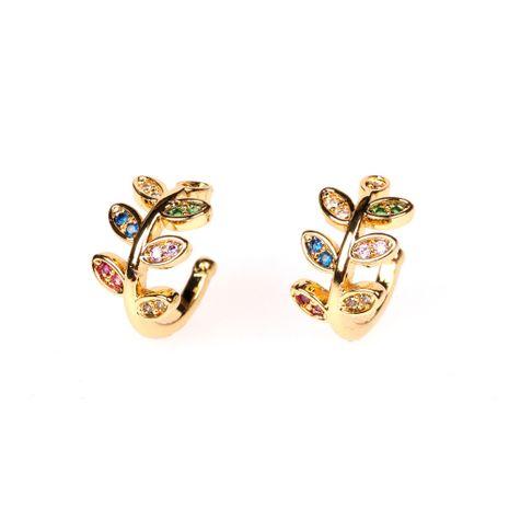 New hot sale tree leaf ear clip without pierced  copper zircon ear bone clip  NHPY238546's discount tags