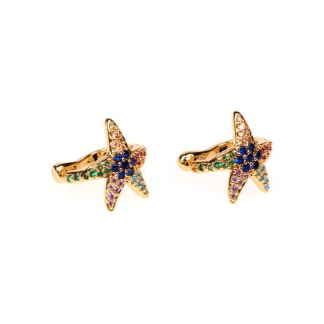 Hot-selling marine  starfish non-pierced inlaid zirconium copper women's ear clip nihaojewelry NHPY238552's discount tags