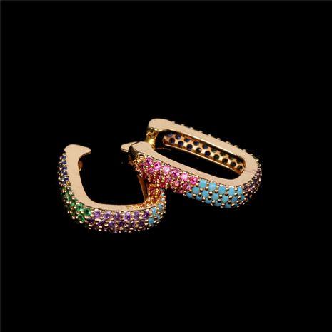 Hot-selling diamond U-shaped colorful non-pierced copper women's earrings nihaojewelry NHPY238555's discount tags