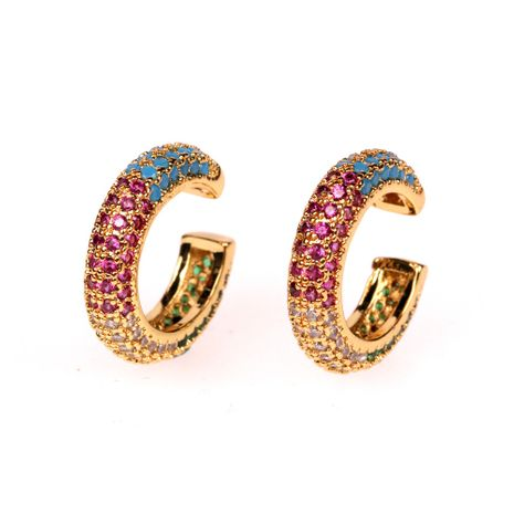 New inlaid crystal diamond C-shaped simple copper earrings for women wholesale nihaojewelry NHPY238557's discount tags