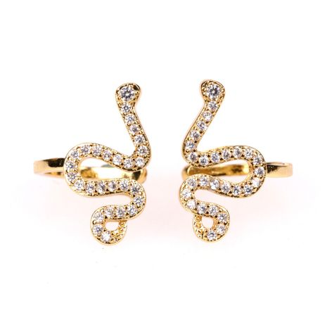 New micro-inlaid colorful zircon animal snake without pierced earrings wholesale nihaojewelry NHPY238559's discount tags