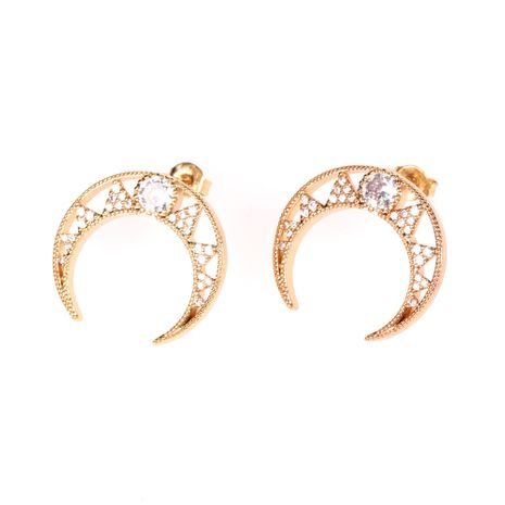 New style micro inlaid crystal diamond fantasy star and moon hollow crescent fashion copper earrings jewelry  NHPY238564's discount tags