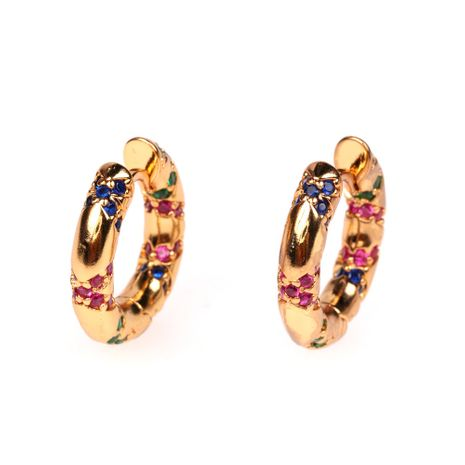 Colorful tribal geometric striped colorful diamond copper women's earrings nihaojewelry NHPY238566's discount tags