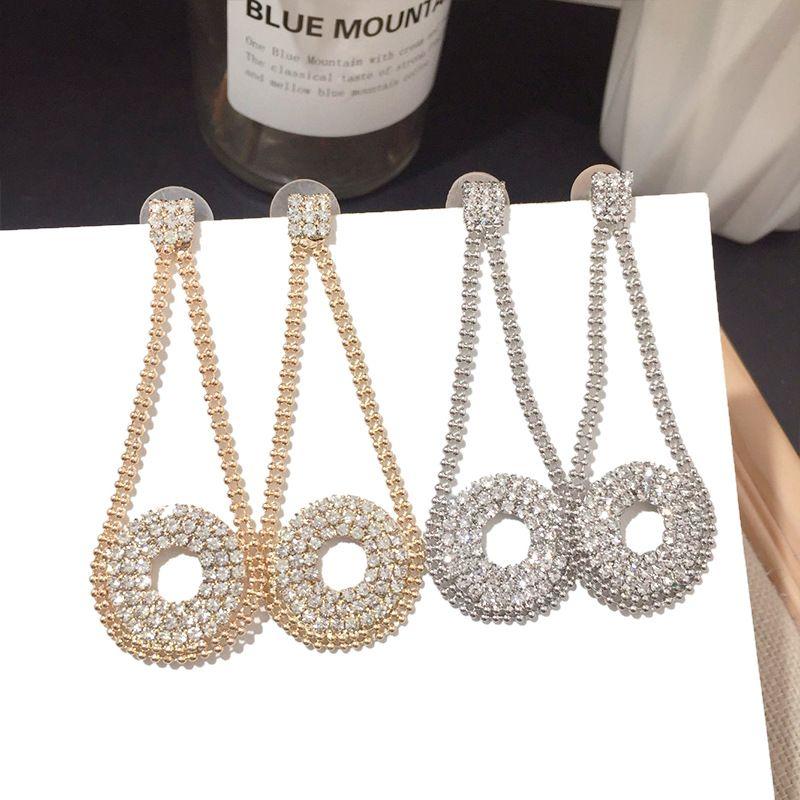 Korean new fashion full diamond  trend circle wild classic alloy earrings for women nihaojewelry NHFT238570