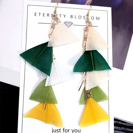 exaggerated large feather tassel  long  Korean retro earrings wholesale nihaojewelry NHFT238583's discount tags