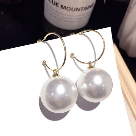 Korean new simple pearl exaggerated earring wholesale nihaojewelry NHFT238586's discount tags
