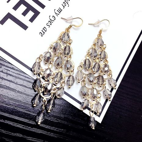 tassel   geometry long crystal exaggerated earrings wholesale nihaojewelry NHFT238596's discount tags