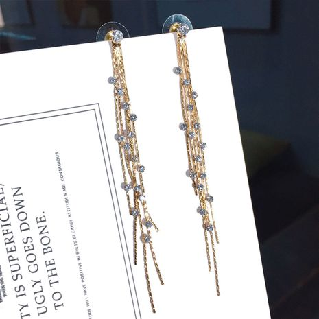 Korean new ladies rhinestone earrings fashion tassels long earrings wholesale nihaojewelry NHFT238597's discount tags