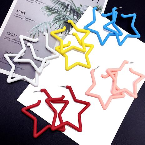 Korea's new  simple five-pointed star fashion exaggerated earrings wholesale nihaojewelry NHFT238606's discount tags