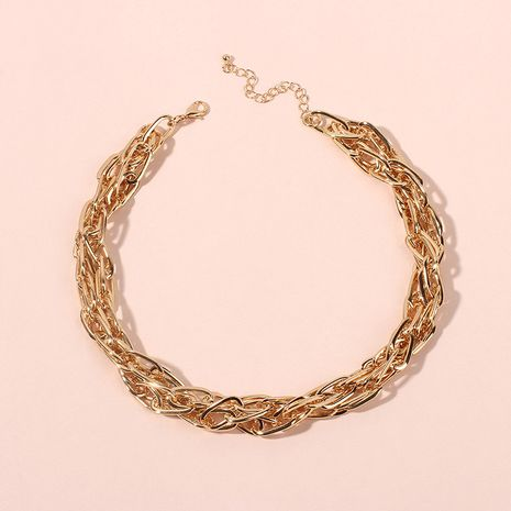 exaggerated multi-layer metal clavicle chain hip hop necklace wholesale nihaojewelry NHRN238611's discount tags