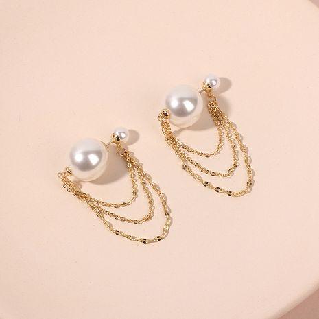 Simple long pearl retro tassel golden earrings for women nihaojewelry NHRN238613's discount tags