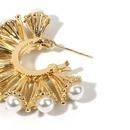 Exaggerated niche fanshaped Bucklow pearl retro golden earrings for women nihaojewelry NHRN238614