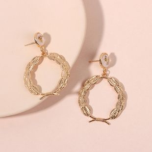 Korea cute fashion round wreath geometric alloy women's earrings nihaojewlery NHRN238619's discount tags