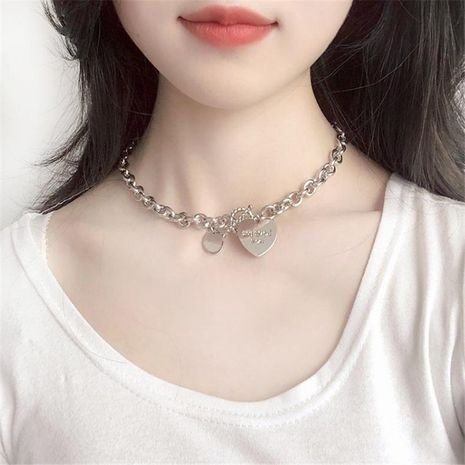 new  exaggerated metal chain letter necklace love pendant clavicle chain wholesale nihaojewelry NHRN238634's discount tags