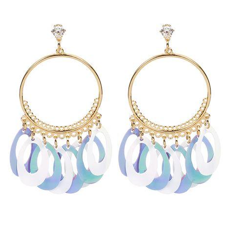 Boucles d'oreilles en écailles de poisson à gradient ovale géométrique de vente chaude pour les femmes nihaojewelry NHRN238639's discount tags