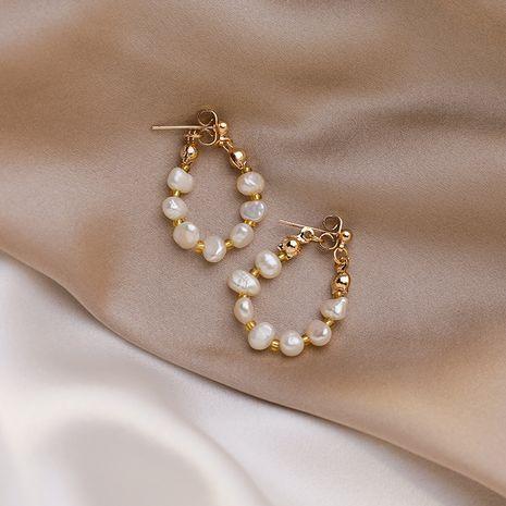 Boucles d'oreilles en argent 925 avec perles d'eau douce naturelles rétro nihaojewelry NHMS238645's discount tags