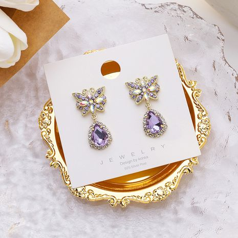 Colorful crystal purple beautiful butterfly drop earrings 925 silver needles fashion earrings nihaojewelry NHMS238650's discount tags
