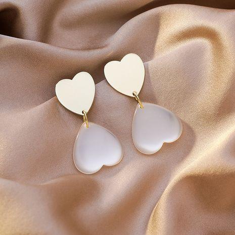 Korean simple sweet love metal opal heart 925 silver needle earrings nihaojewelry NHMS238660's discount tags