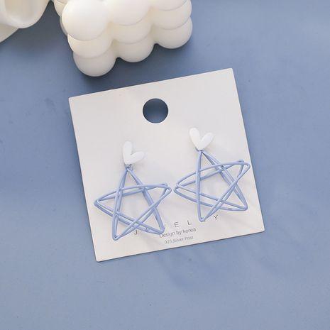Summer Fresh Love creux en forme d'étoile bleue nouvelle boucle d'oreille sauvage simple à la mode pour les femmes nihaojewelry NHMS238661's discount tags