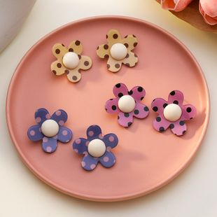 Korean summer new cute sweet polka dot acrylic flower leopard flower earrings for women NHMS238664's discount tags
