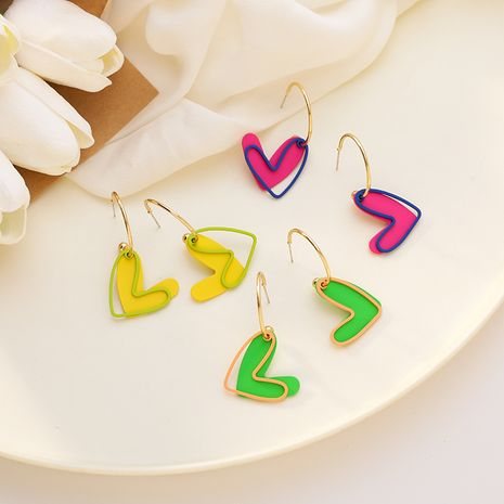 Korean fluorescent color love sweet summer candy color double hollow love trend earrings for women  NHMS238665's discount tags