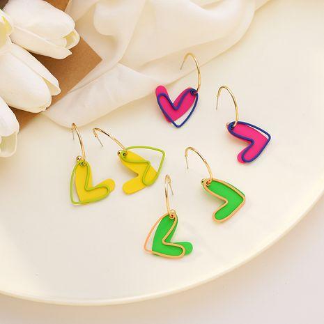 Couleur fluorescente coréenne amour douce couleur bonbon d'été double boucles d'oreilles tendance amour creux pour les femmes NHMS238665's discount tags