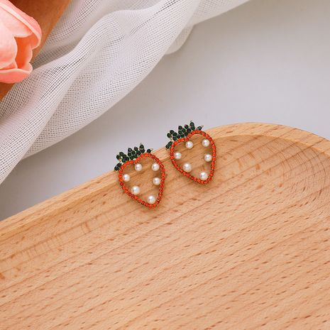 Pearl Rhinestone Strawberry Girly Sweet 925 Silver Needle Carrot new Trend Earrings nihaojewelry NHMS238668's discount tags