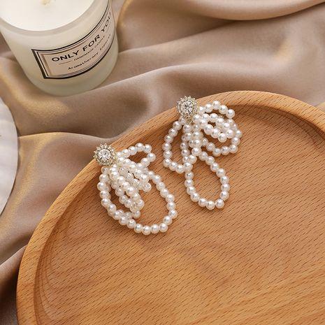 925 silver needles pearl bow fashion rhinestone earrings for women nihaojewelry NHMS238669's discount tags