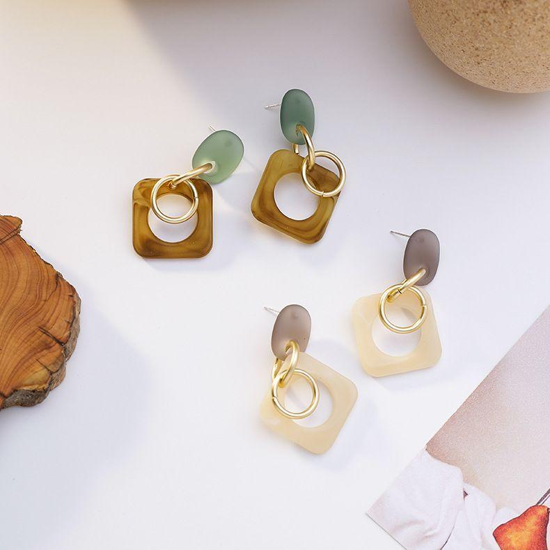 Korean new simple  cool style geometric acrylic 925 silver needle women's earrings nihaojewelry NHMS238682