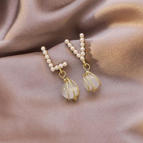 Vintage 925 argent aiguille opale lettre été nouvelles boucles d'oreilles asymétriques de perles pour les femmes Niahojewelry NHMS238685's discount tags