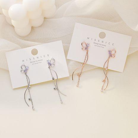925 argent aiguille coréenne micro-incrusté de zircon papillon gland longues boucles d'oreilles en forme de S pour les femmes NHMS238686's discount tags